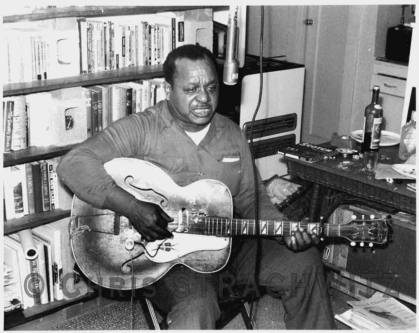 Big Joe Williams recording at Chris' house 1960