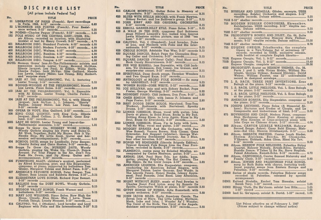 Disc Records Catalog 1947