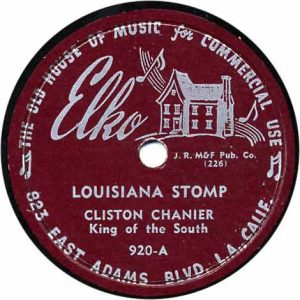 "Clifton Chenier's first recording 1954 in Lake Charles LA with his spelled ""Cliston Chanier"""
