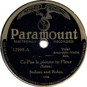 Ce Pas la pienne tu Pleur by Soileau and Robin recorded 7/13/1929 in Richmond, IN