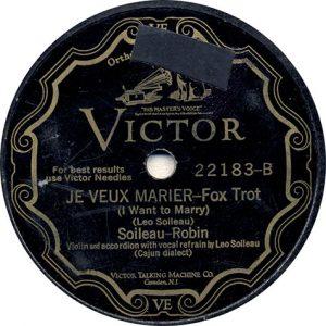 Je Veux Marier by Soileau-Robin recorded 9/18/1929 in Memphin, TN
