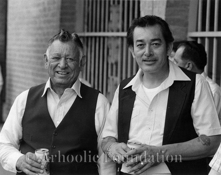 Santiago Jiménez Sr. and Flaco Jiménez - May 1982 photo by Chris Strachwitz