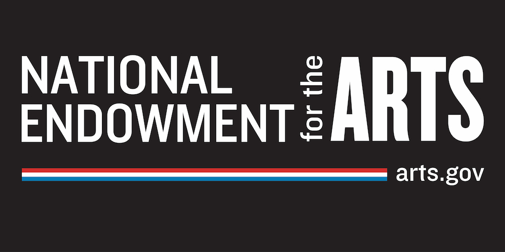National Endowment of the Arts logo in honor of their grant to the Arhoolie Foundation to create public access to roots music, blues, cajun, zydeco, jazz, tejano and norteno music
