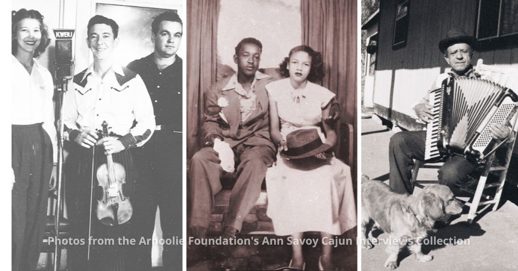 Ann Savoy Cajun Interviews Collection header image with photos of Harry Choates, Boozoo Chavis, and Ambrose Sam